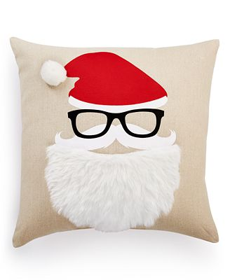 Holiday Lane Santa Face Decorative Pillow, Created for Macy's