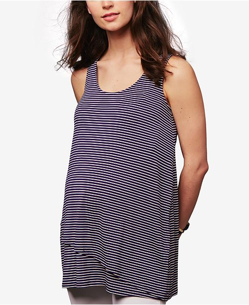 A Pea in the Pod Maternity Striped Crochet-Back Layered Tank Top