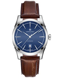 Hamilton Men's Swiss Automatic American Classic Brown Leather Strap Watch 42mm