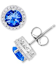 Birthstone & Diamond (1/8 ct. t.w.) Halo Stud Earrings