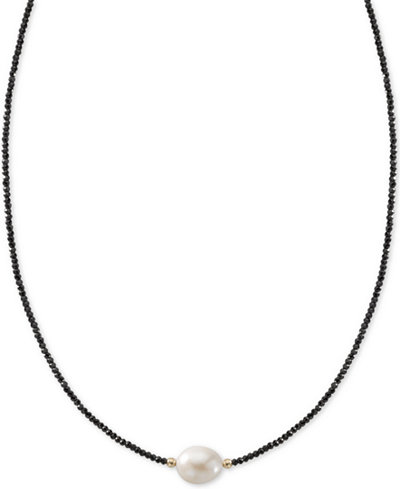 Cultured Freshwater Pearl (10mm) & Black Spinel Collar Necklace in 14k Gold