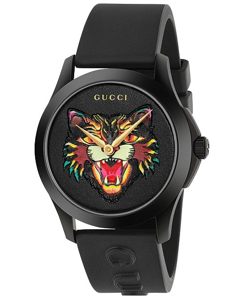 Gucci Unisex Swiss G-Timeless Black Rubber Strap Watch 38mm