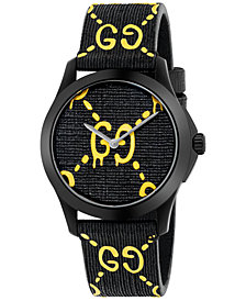Gucci Unisex Swiss G-Timeless Black Rubber with Yellow GG Pattern Strap Watch 38mm