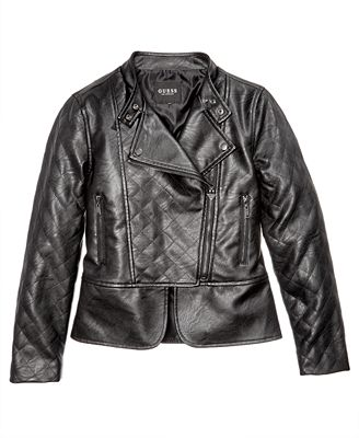GUESS Faux Leather Bomber Jacket, Big Girls (7-16) - Coats ...