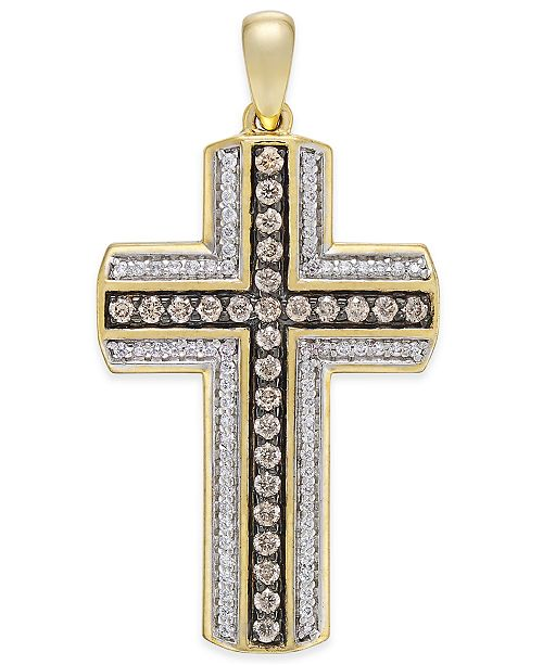 Macy's Men's Diamond Cross Pendant (3/4 ct. t.w.) in 10k Gold