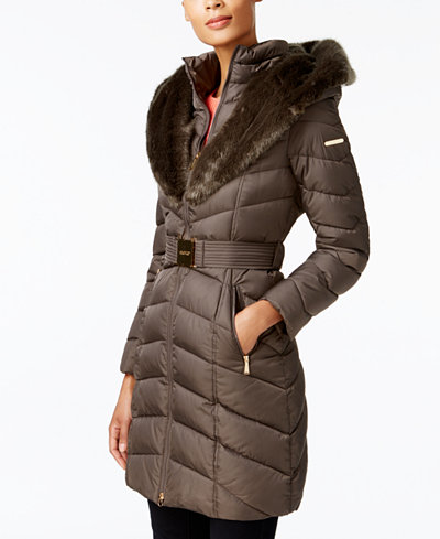 Laundry by Shelli Segal Faux-Fur-Trim Belted Down Coat - Coats ...