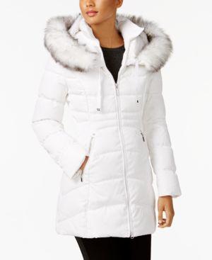 LAUNDRY BY SHELLI SEGAL Laundry By Shelli Segal Windbreaker Faux Fur Trim Puffer Coat in Real White