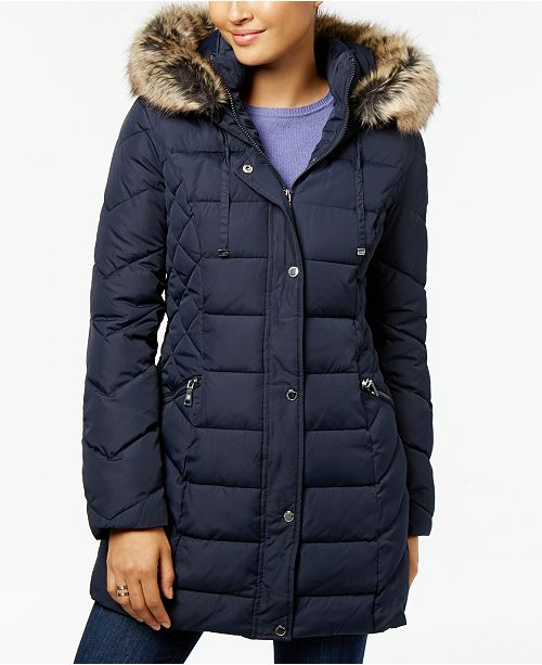 7caaed8a69a1 Laundry by Shelli Segal Quilted Faux-Fur-Trimmed Puffer Coat ...