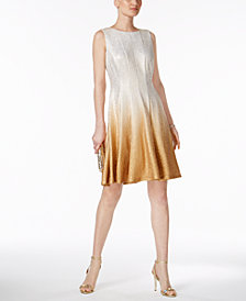 MSK Glitter Ombré Metallic Fit & Flare Dress