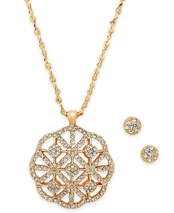 Charter Club - Gold-Tone Pavé Filigree Pendant Necklace & Pavé Cluster Stud Earrings Set