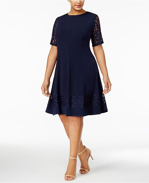 Jessica Howard Plus Size Lace Sleeve Fit Flare Dress Dresses