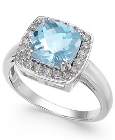 Aquamarine (2 ct. t.w.) & Diamond (1/3 ct. t.w.) Ring in 14k White Gold