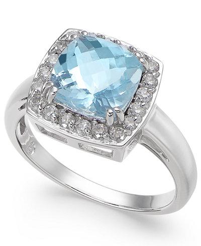Aquamarine (2 ct. t.w.) & Diamond (1/3 ct. t.w.) Ring in 14k White Gold