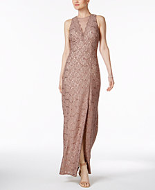 Nightway Petite Sequined-Lace Gown