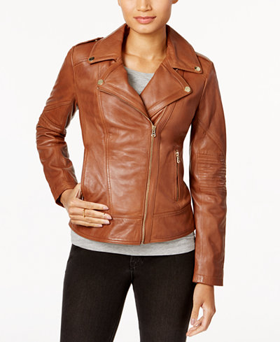 Guess Asymmetrical Leather Moto Jacket Coats Women