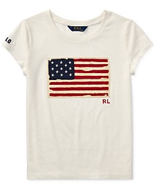 Polo Ralph Lauren Big Girls Flag Graphic T-Shirt