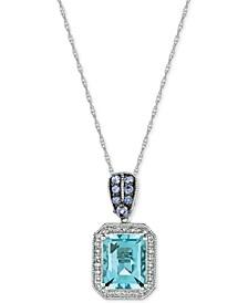 Multi-Gemstone (2-1/10 ct. t.w.) & Diamond (1/8 ct. t.w.) Pendant Necklace in 14k White Gold