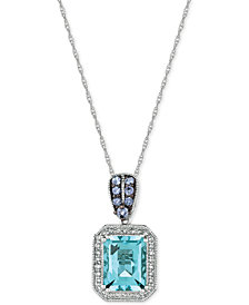 Le Vian® Multi-Gemstone (2-1/10 ct. t.w.) & Diamond (1/8 ct. t.w.) Pendant Necklace in 14k Rose Gold