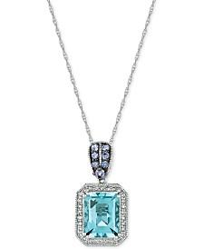 Le Vian® Multi-Gemstone (2-1/10 ct. t.w.) & Diamond (1/8 ct. t.w.) Pendant Necklace in 14k White Gold