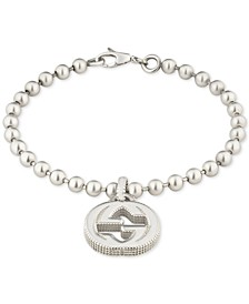 Beaded Interlocking Logo Charm Bracelet in Sterling Silver