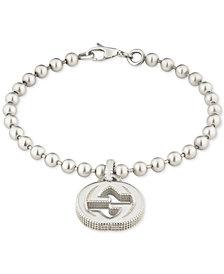 Gucci Beaded Interlocking Logo Charm Bracelet in Sterling Silver