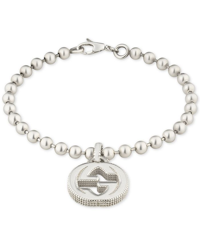 Gucci - Beaded Interlocking Logo Charm Bracelet in Sterling Silver