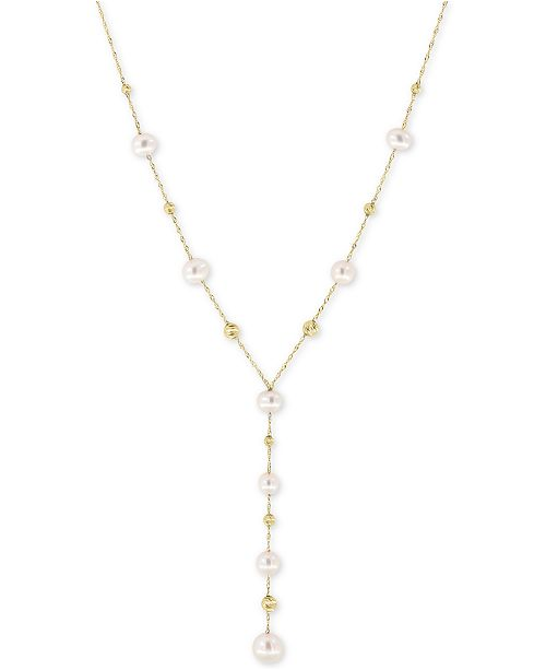EFFY Collection EFFY® Cultured Freshwater Pearl (5, 6, & 7mm) Lariat Necklace in 14k Gold