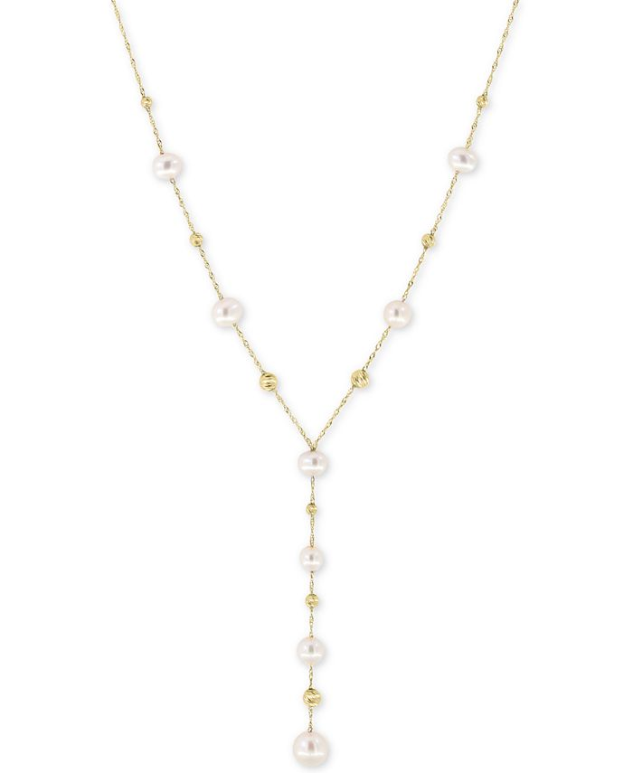 EFFY Collection - Cultured Freshwater Pearl (5, 6, & 7mm) Lariat Necklace in 14k Gold