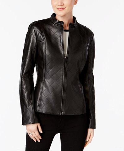 Jones New York Quilted Leather Jacket - Coats - Women - Macy's