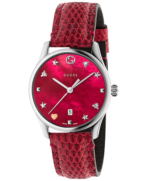 482e245b28a Gucci Women s Swiss G-Timeless Cherry Red Leather Strap Watch 29mm ...