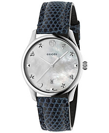 Gucci Women's Swiss G-Timeless Marine Blue Leather Strap Watch 36mm