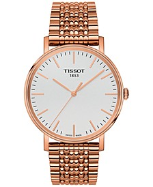 Unisex Swiss Everytime Rose Gold-Tone Stainless Steel Bracelet Watch 38mm