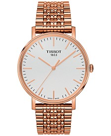 Tissot Unisex Swiss Everytime Rose Gold-Tone Stainless Steel Bracelet Watch 38mm