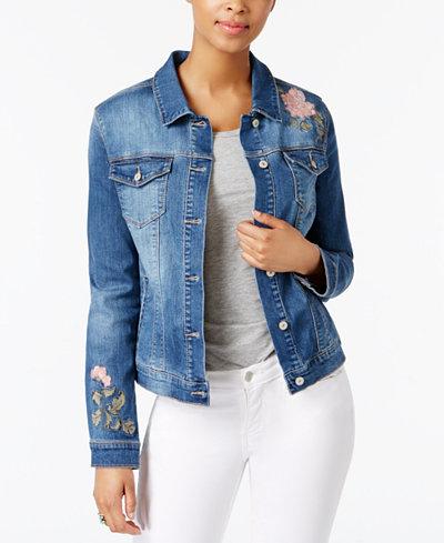 Vintage America Embroidered Denim Jacket - Jackets - Women - Macy's