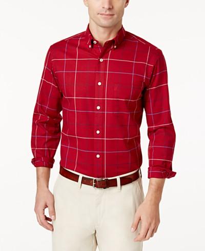 Club Room Men's Windowpane Stretch Shirt, Created for Macy's