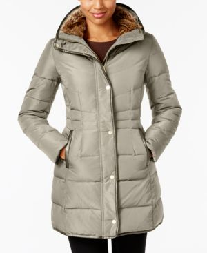 SIGNATURE FAUX-FUR-LINED PUFFER COAT
