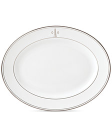 Lenox Federal Platinum Monogram Oval Platter, Block Letters