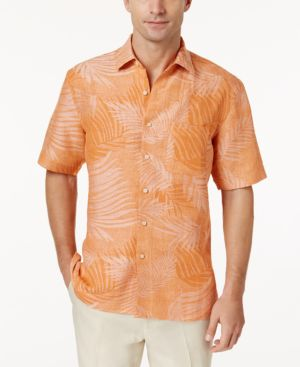 Tasso Elba Linen Leaf Jacquard Short-Sleeve Shirt, Created for Macy's 5593762