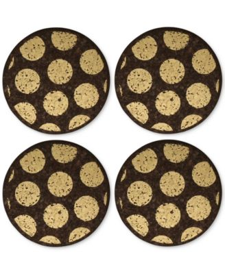 Round Metallic-Dotted Dark Cork Coasters, Set of 4