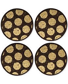 Thirstystone Round Metallic-Dotted Dark Cork Coasters, Set of 4