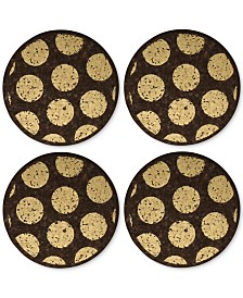 Thirstystone Round Metallic-Dotted Dark Cork Coasters, Set of 4