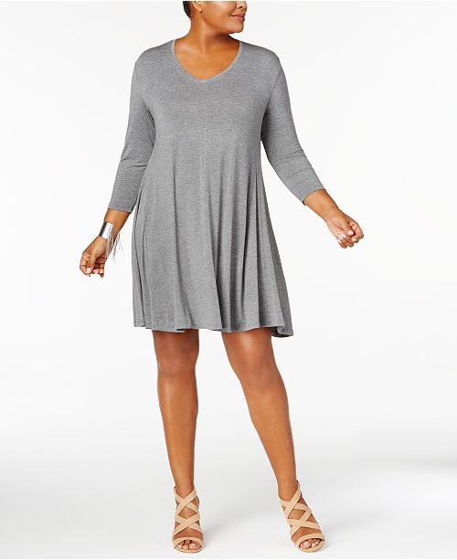 Plus Size V-Neck A-Line Swing Dress, Created for Macy\'s