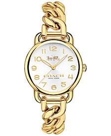 COACH Women's Delancey Gold-Tone Stainless Steel Chain Link Bracelet Watch 28mm