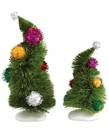Department 56 Grinch Village Set of 2 Wonky Trees