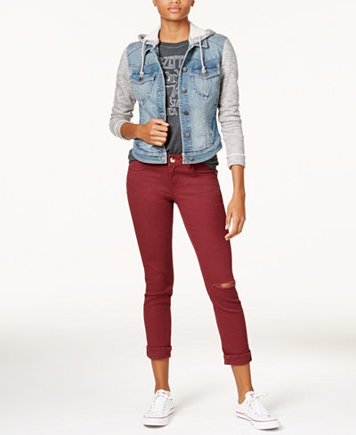 Tinseltown Juniors' Denim Jacket, FEA Boyfriend T-Shirt & Dollhouse Colored Ripped Cropped Jeans