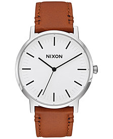 Nixon Men's Porter Leather Strap Watch 40mm A1058