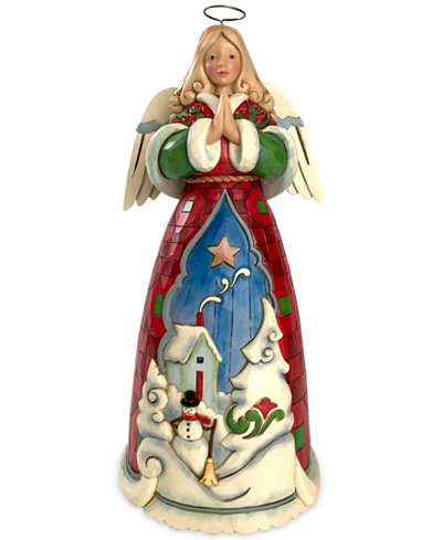 Jim Shore Winter Angel With Home Scene Figurine