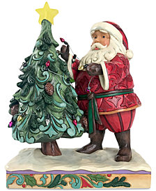 Jim Shore Santa Decorating The Tree With Lights Figurine