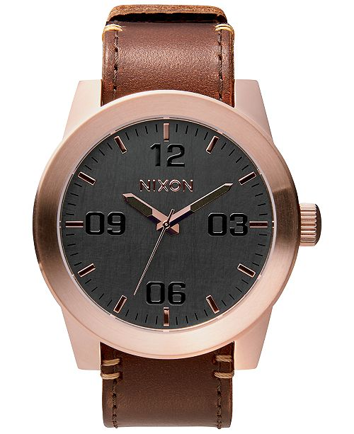Nixon Men's Corporal Leather Strap Watch 48mm A243