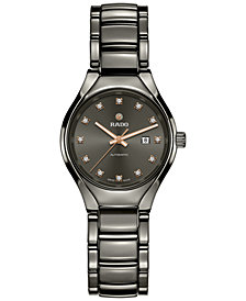 Rado Women's Swiss Automatic True Diamond (1/10 ct. t.w.) Plasma-Tone Ceramic Bracelet Watch 30mm